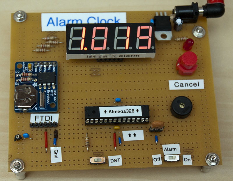 Alarm clock from atmega and segment display
