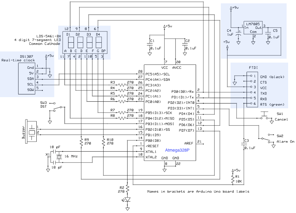 7805 voltage regulator to power standalone atmega328