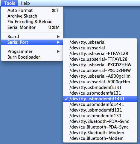 No Mac serial port choices  Only Bluetooth  Sad I can't use my