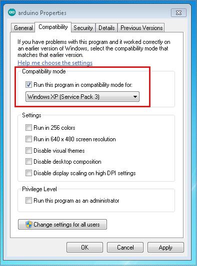 arduino ide windows xp problem