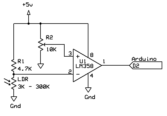LDR photoresistor and interrupts
